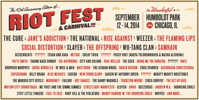 chicago riot fest carnival lineup announced on sale now riot fest. Black Bedroom Furniture Sets. Home Design Ideas
