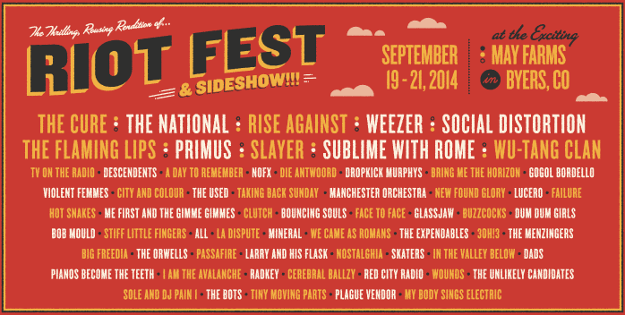 DENVER) Riot Fest & Sideshow Lineup Released & On Sale Now