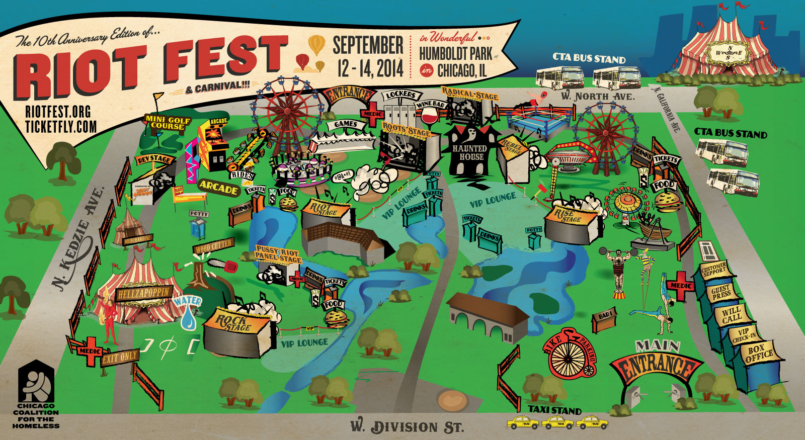 Riot Fest Map Chicago Chain Of Flowers: Chicago Riot Fest map & more attractions