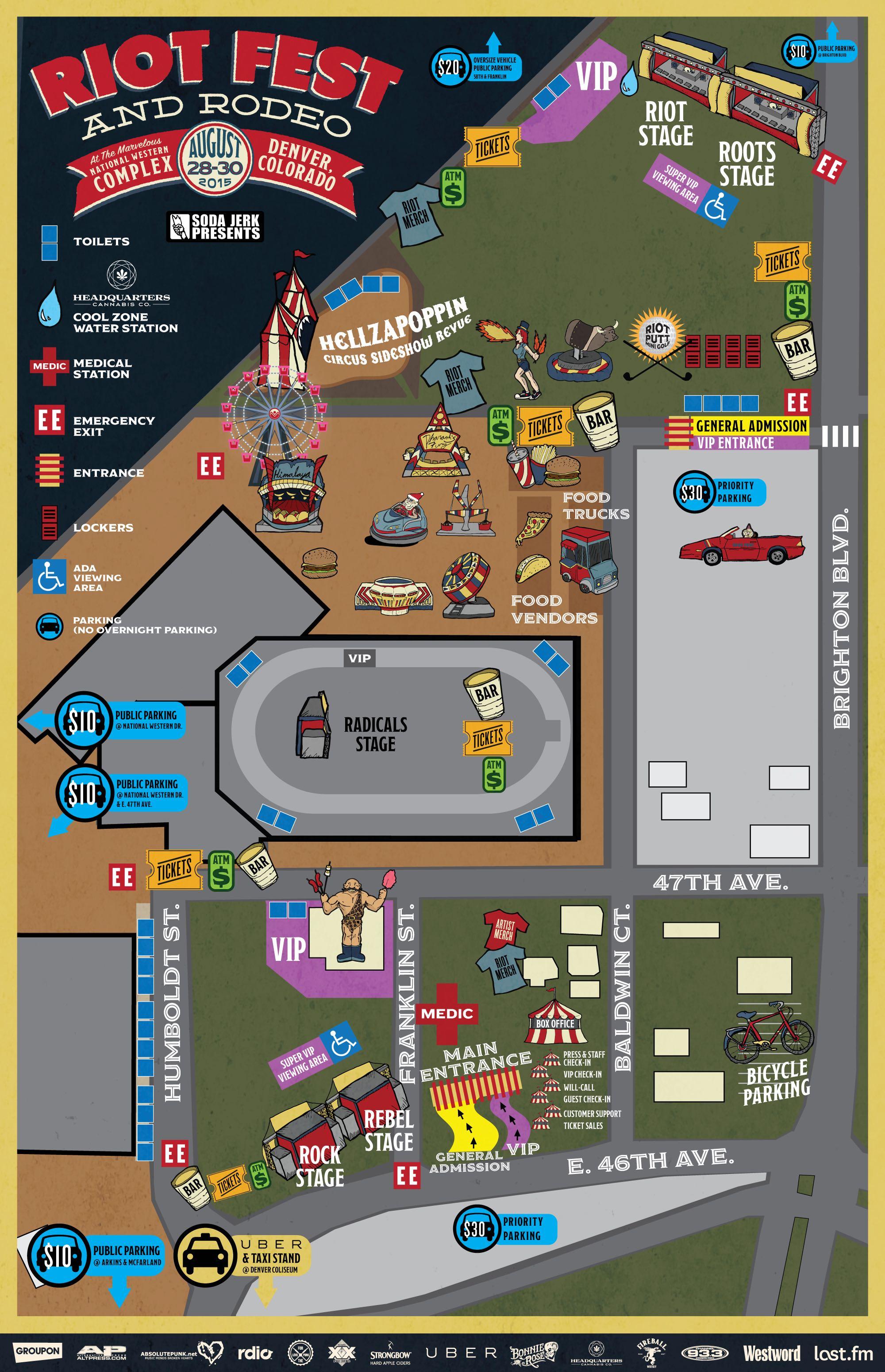 Denver Festival Map Now Available Riot Fest - Chicago map border