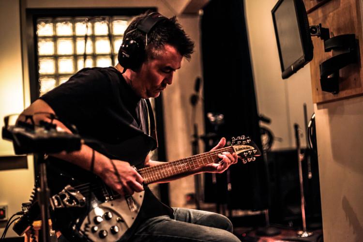 Naked Raygun guitarist Bill Stephens inside the studio