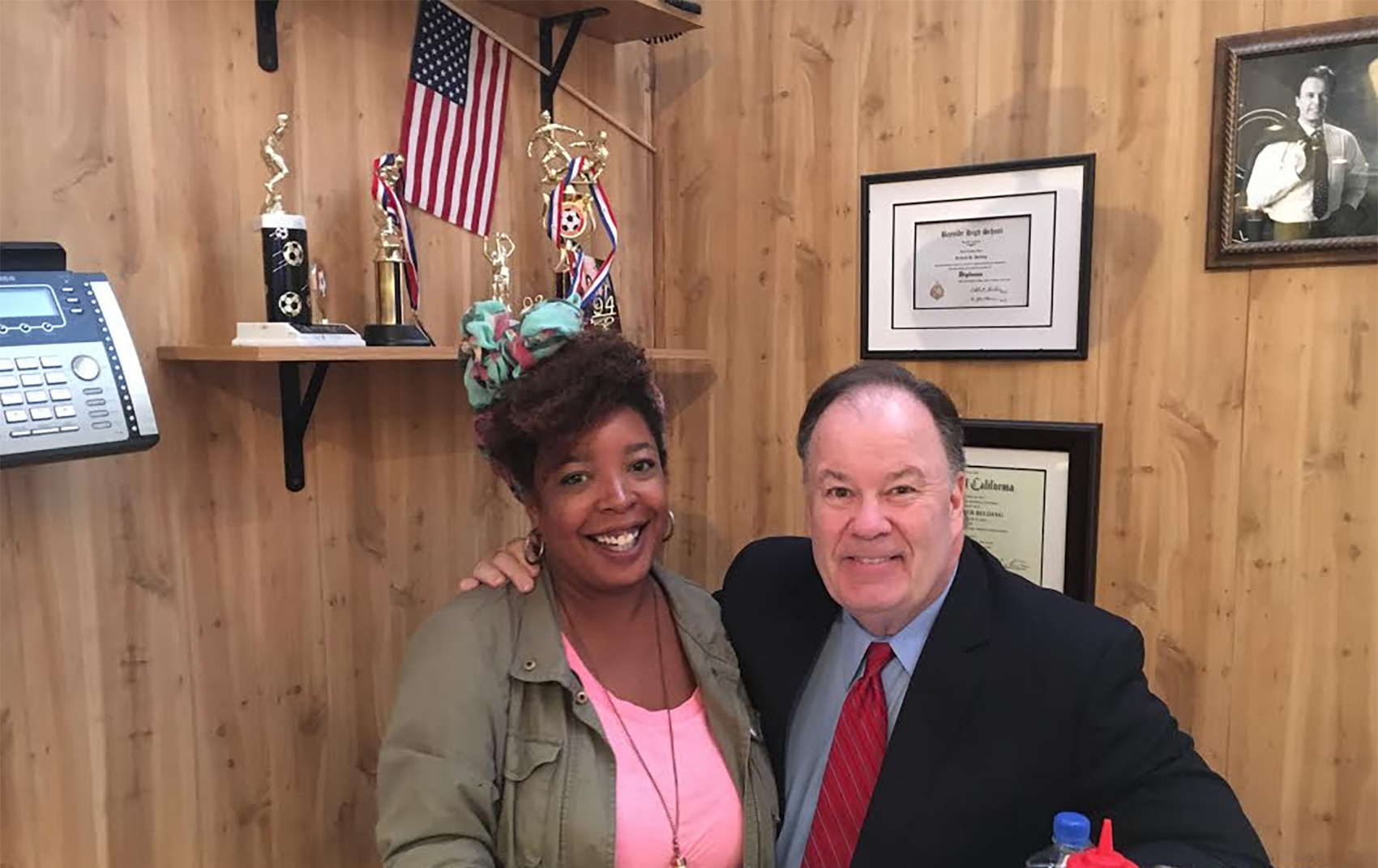 Dennis Haskins and Jill Hopkins in the prinicipal's office