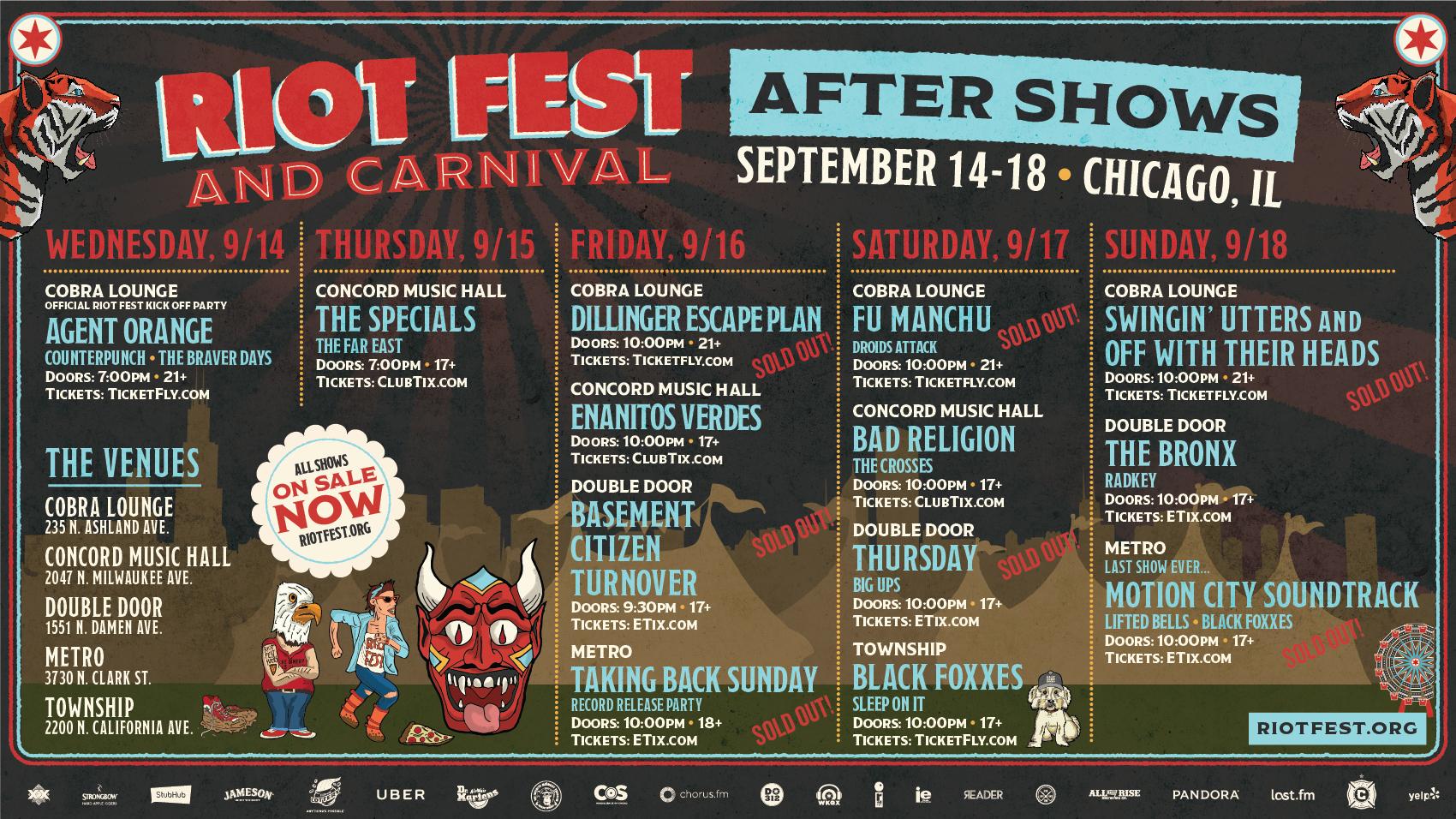 Riot Fest & Carnival After Shows | Riot Fest