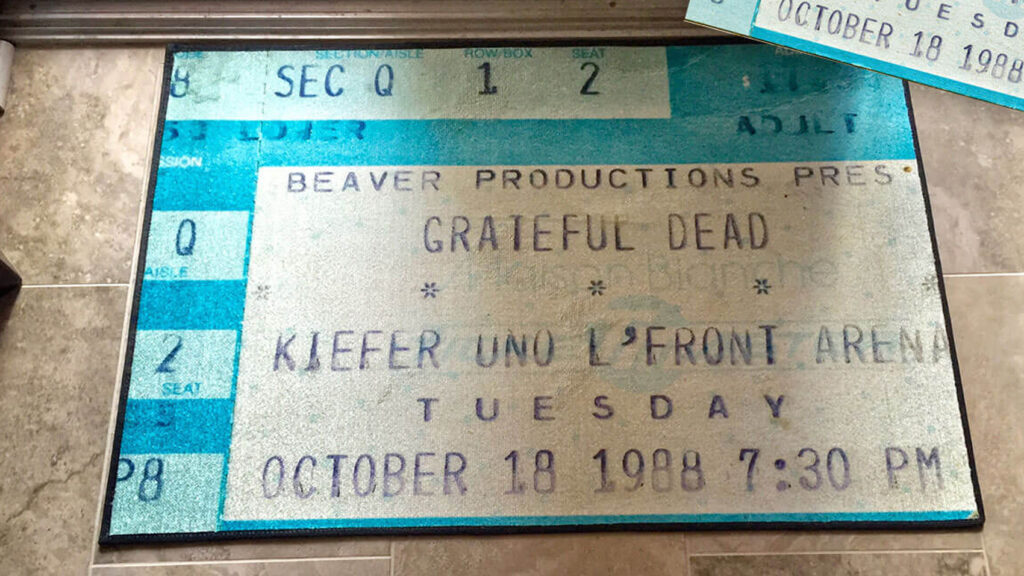 ticket stub door mat