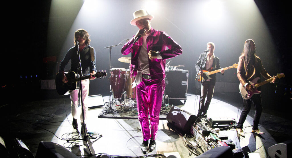 "Tragically Hip lead singer Gord Downie performs with band members Paul Langlois, Gord Sinclair, Johnny Fay and Rob Baker at the Save-on-Foods Memorial Centre to kick off the band's latest ""Man Machine Poem"" tour in light of Downie's brain cancer diagnosis, in Victoria, B.C., Canada July 22, 2016. REUTERS/Kevin Light - RTSJAEH"