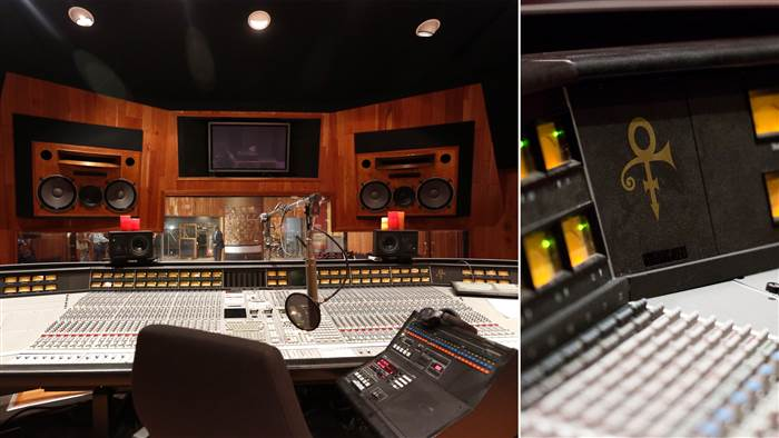 Prince recorded some of his greatest hits in the Studio A sound booth and control room, which is still set up just the way he liked it (Prince symbol, and all).