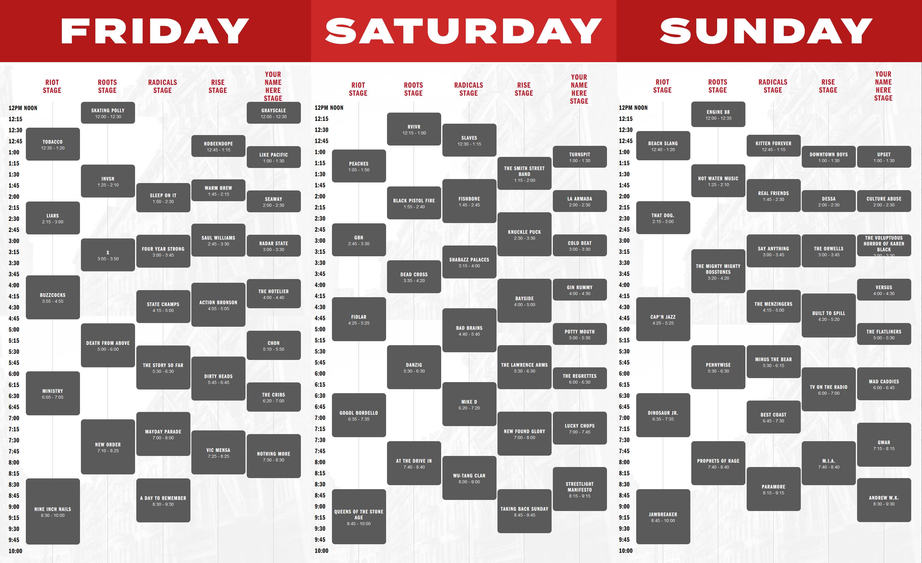 Riot Fest Daily Schedule : RiotFest