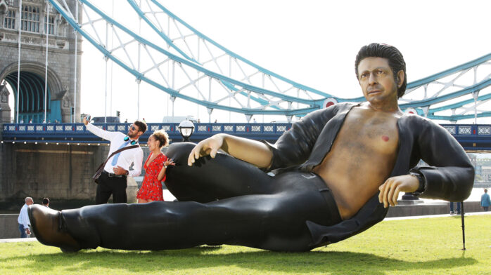Statue of Jeff Goldblum from 'Jurassic Park' in London